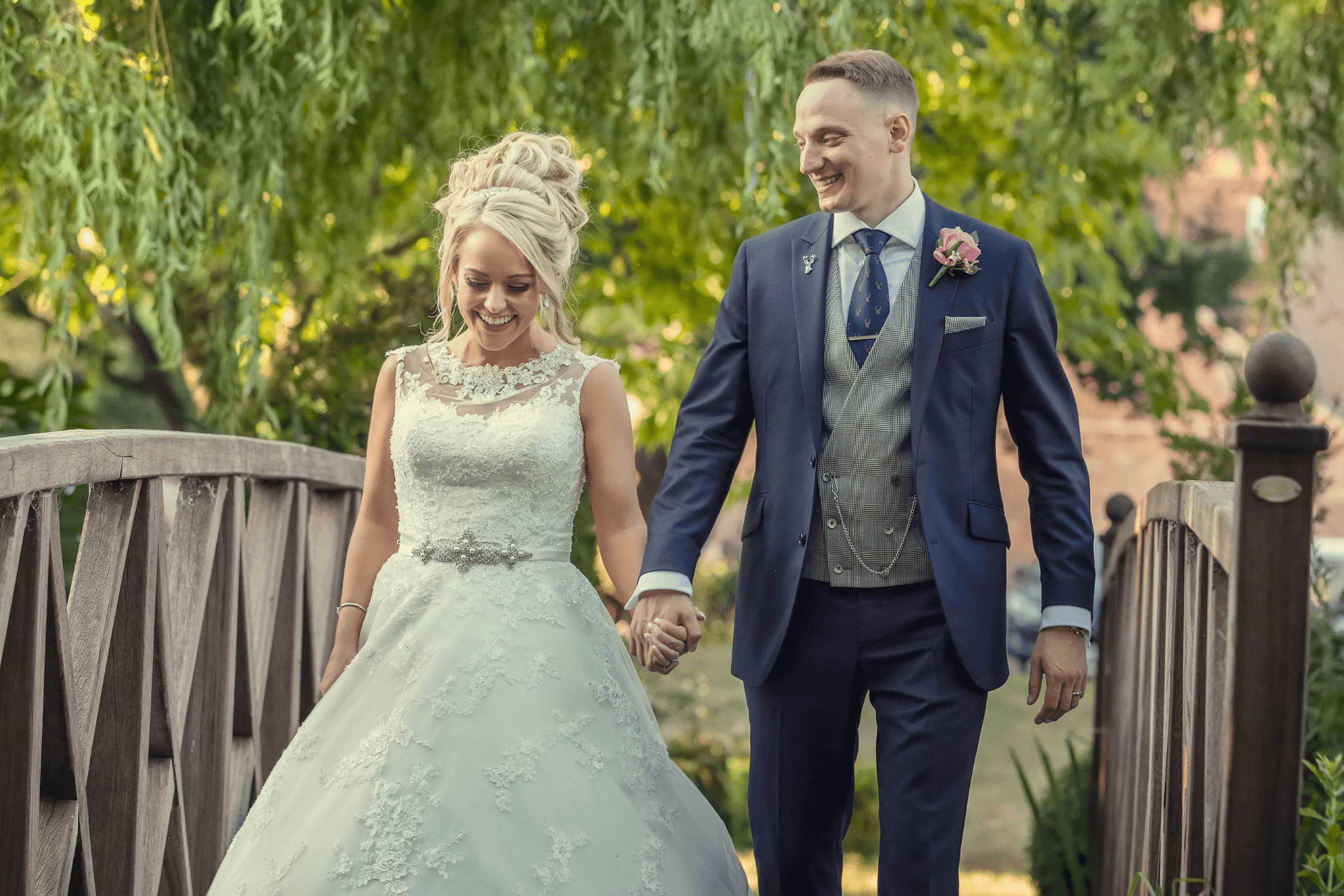 Newlywed couple at the Grosvenor Pulford Hotel and Spa